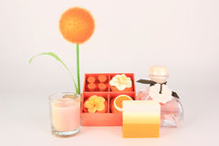 Orange aromatic spa set Stock Photos