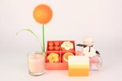 Orange aromatisches Badekurortset Stockfotos