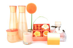 Orange aromatisches Badekurortset Stockfotografie