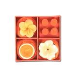Orange aromatisches Kerzeset Lizenzfreie Stockbilder