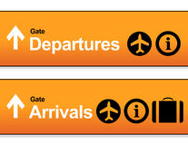 Orange Arrival and departures airport signs Stock Photo