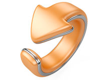 Orange arrow bend in a ring. direction back. 3d illustration isolated on a white background Stock Images