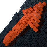 Orange arrow, 3D. Orange arrow on black wall, 3D Stock Image