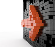 Orange arrow, 3D. Orange arrow on black wall, 3D Royalty Free Stock Images