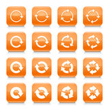 Orange arrow reset sign square icon web button Royalty Free Stock Photo