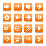 Orange arrow sign rounded square icon web button Stock Images