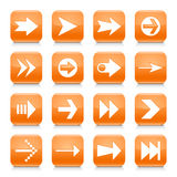 Orange arrow sign rounded square icon web button Royalty Free Stock Photos
