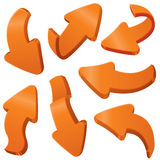 Orange arrows. Set of 3D orange arrows vector illustration