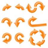 Orange arrows. 3d shiny icons set. Vector illustration isolated on white background Stock Images
