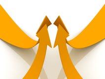 Orange arrows up teamwork concept. 3d Stock Photo