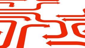 Orange arrows on white surface, 3d illustration Stock Photo