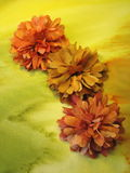 Orange artificial flowers Stock Photos
