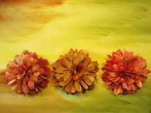 Orange artificial flowers stock image