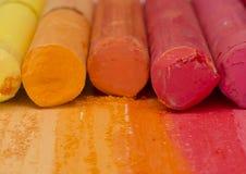 Orange artistic crayons Royalty Free Stock Photography