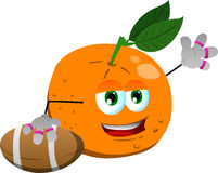 Orange as American football player Stock Photo