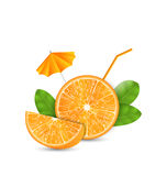 Orange as a Drink with a Straw and Umbrella Stock Photo