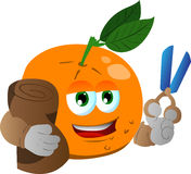 Orange as tailor with scissors Royalty Free Stock Photo