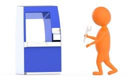 orange atm teknikertecken för 3d Royaltyfri Bild