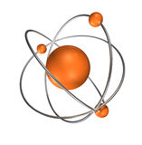 Orange Atom auf grauem Hintergrund Stockfotos