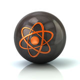 Orange atom icon on black glossy sphere. 3d illustration on white background Stock Image