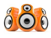 Orange audio speakers. Isolated on white background royalty free illustration