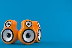 Orange audio speakers. Isolated on blue background. 3d illustration vector illustration