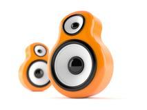 Orange audio speakers. On white background vector illustration