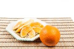 Orange auf der Platte stockfotos