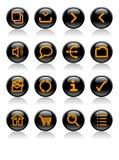 Orange auf schwarzen glänzenden Web-Ikonen Lizenzfreie Stockfotos