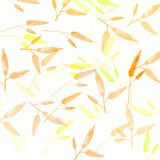 Orange autumn background with leaves pattern Royalty Free Stock Photos