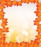 Orange autumn border leaves bokeh illustration. Design over a white background Stock Illustration