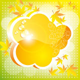 Orange autumn cloud. With leaves and a patch of light. A bright card Vector Illustration