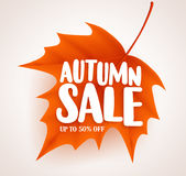 Orange autumn leaf with sale text in white background vector banner design Stock Photography