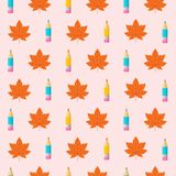 Colorful seamless patterns on the theme of education, school, au. Orange autumn leaves and colorful pencils. Colorful seamless patterns on the theme of education Stock Photos