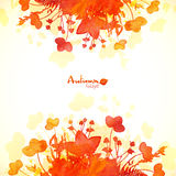 Orange autumn leaves watercolor painted background Royalty Free Stock Images
