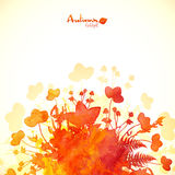 Orange autumn leaves watercolor painted background Stock Images
