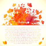 Orange autumn leaves watercolor painted background Royalty Free Stock Photo