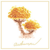 Orange autumn tree with many leaves watercolor Royalty Free Stock Image