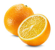 Orange avec une moitié d'orange d'isolement sur le fond blanc Photos libres de droits