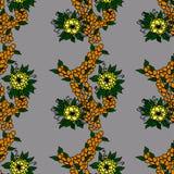 Orange bär och gula blommor stock illustrationer