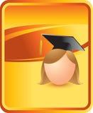 Orange backdrop female graduate Royalty Free Stock Image