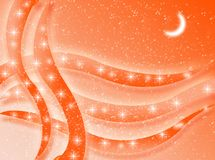 Orange background. An orange background with shapes, moon and stars stock illustration