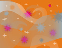 Orange background. With stars and curves Royalty Free Stock Images