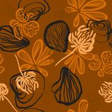Orange background with abstract seashells butterflies and flowers vector seamless pattern stock illustration