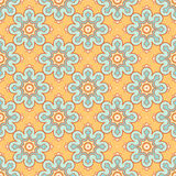 Orange background with blue flowers. Beautiful seamless retro pattern with blue flowers on a orange background vector illustration