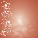Orange  background with bokeh heart and floral Stock Images