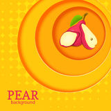 Orange background with circles on top of each other and ripe fruit pear. Vector illustration. Stock Photos