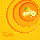 Orange background with circles on top of each other and ripe fruit pear. Vector illustration. Royalty Free Stock Image