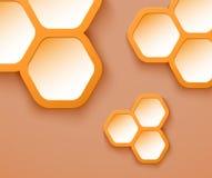 Orange background 3D hexagons. Shapes, vector illustration stock illustration