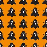 Halloween background with spooky ghosts. Orange background design with black ghost pattern. Halloween theme clean design Royalty Free Stock Photos